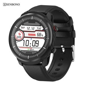 Image 1 - SENBONO 풀 터치 스마트 워치 남성 여성 비즈니스 스포츠 시계 심장 박동 모니터 IOS 안드로이드에 대한 Smartwatch 예측