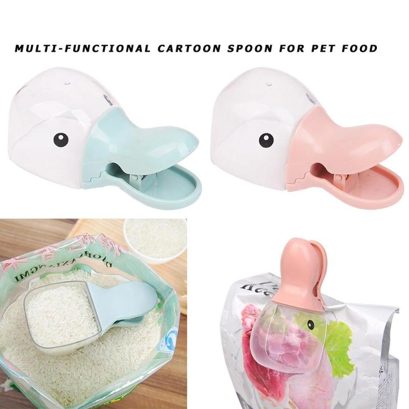 Multi-Purpose Cute Cartoon Pet Food Scoop Plastic Duckbilled Cats Dogs Food Spoon Pet Feeder Feeding Supplies