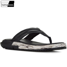 Summer Men Fashion Thick Platform Flip Flop Antiskid Bathing Slipper Genuine Leather Beach Holiday Casual Shoes Male Large Size