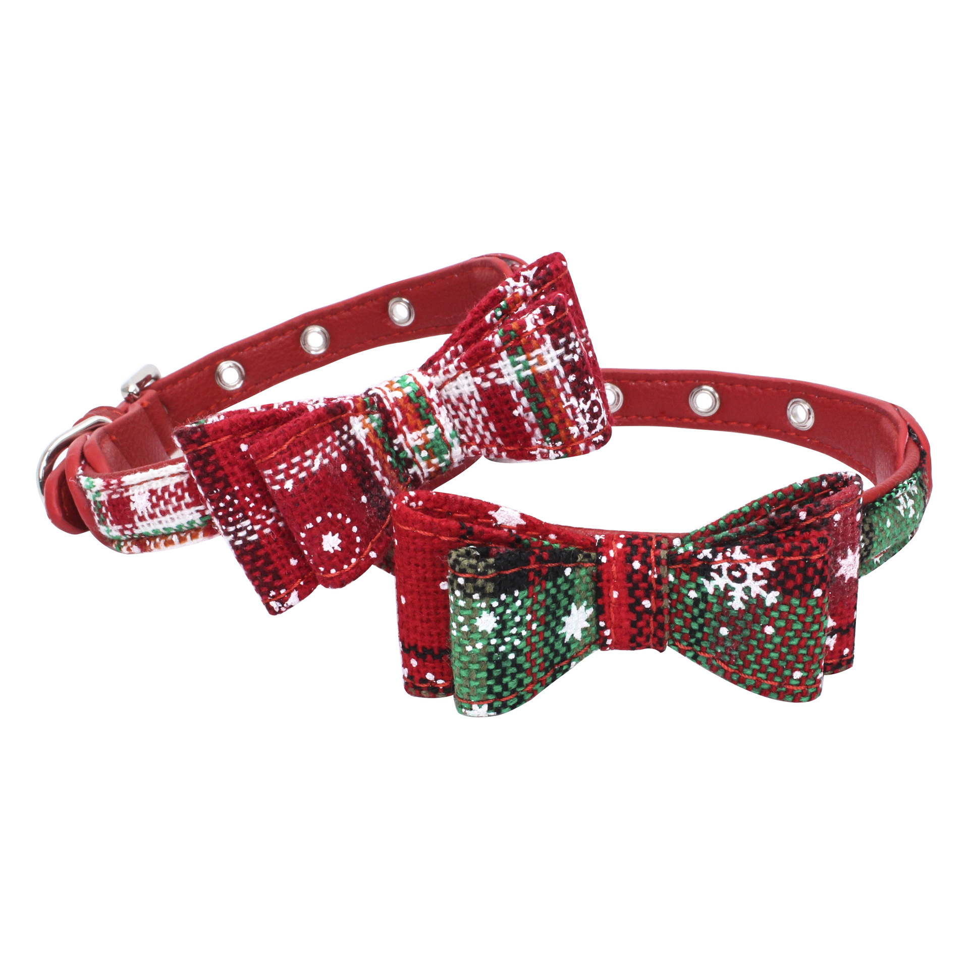 Double Layer Bow Dog Cat Neck Ring Christmas Pet Collar Microfiber Comfortable Tenacity High Waterproof Necklace
