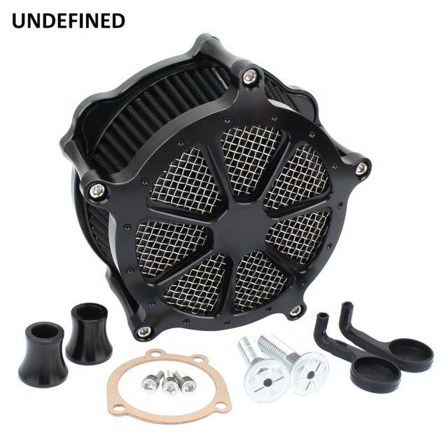Preto cnc filtro de ar da motocicleta venturi corte sistema de admissão de ar mais limpo para harley sportster ferro 883 xl1200 xl883 48 72 1991 2019