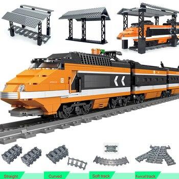 Stacja miasto pociągi moc funkcja klocki do budowy Trein DIY Technic zabawki stacje kolejowe przystanek autobusowy Model tory kolejowe cegły kolejowe