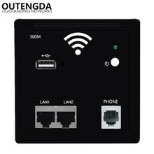 300M In Wall Wireless Access Point WiFi Amplifier Wall Socket Dual LAN RJ45 USB RJ11 Phone Ports 86 Panel WIFI hotel Inn Router ap router 150 mbps indoor wall embedded wireless wifi router repeater 3g 5v 2a usb charger socket panel with switch lan rj11 usb