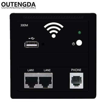 300M In Wall Wireless Access Point WiFi Amplifier Wall Socket Dual LAN RJ45 USB RJ11 Phone Ports 86 Panel WIFI hotel Inn Router hot sales silver usb socket wireless wifi usb charging socket wall embedded wireless ap router 300m wifi repeater free shipping