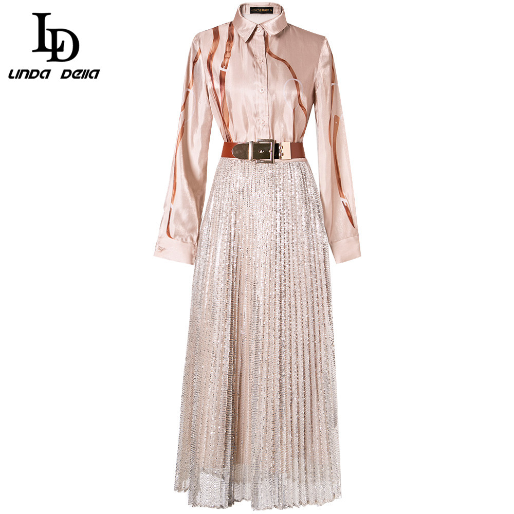 LD LINDA DELLA Spring Fashion Designer Suits Women's Print Shirt And Gold Sequined Skirt 2 Two Pieces Set Office Lady Suit