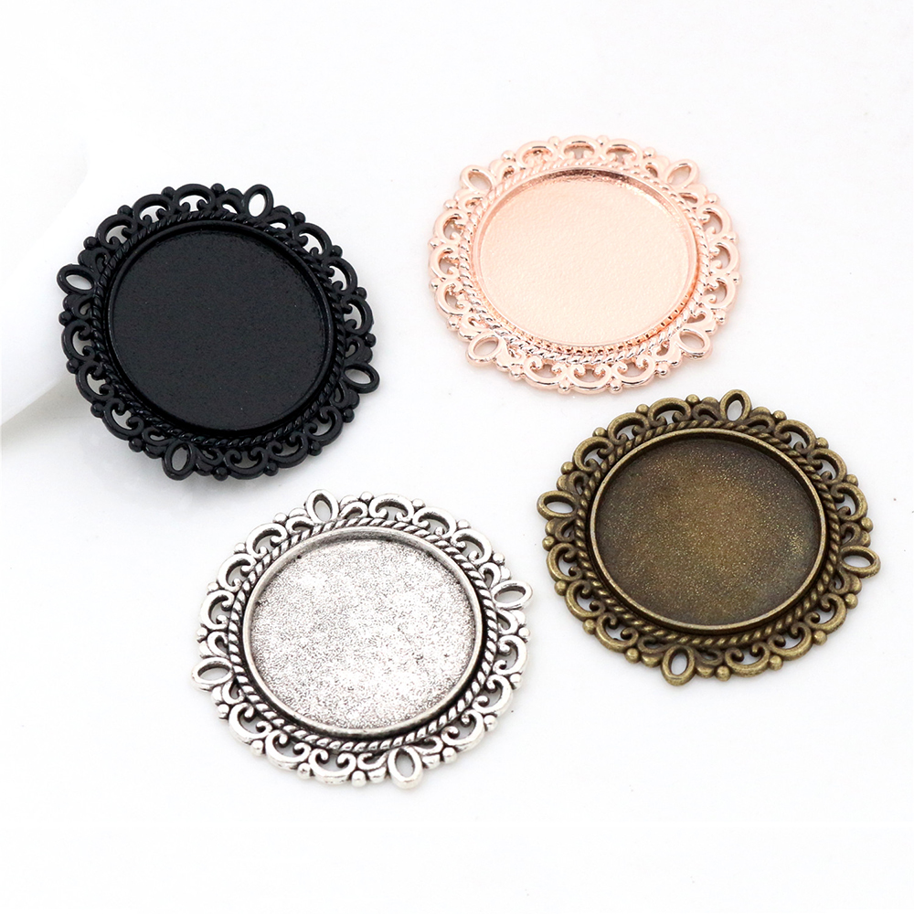 10pcs/lot 20mm Inner Size 4 Colors Classic Style Cabochon Base Setting Charms Pendant