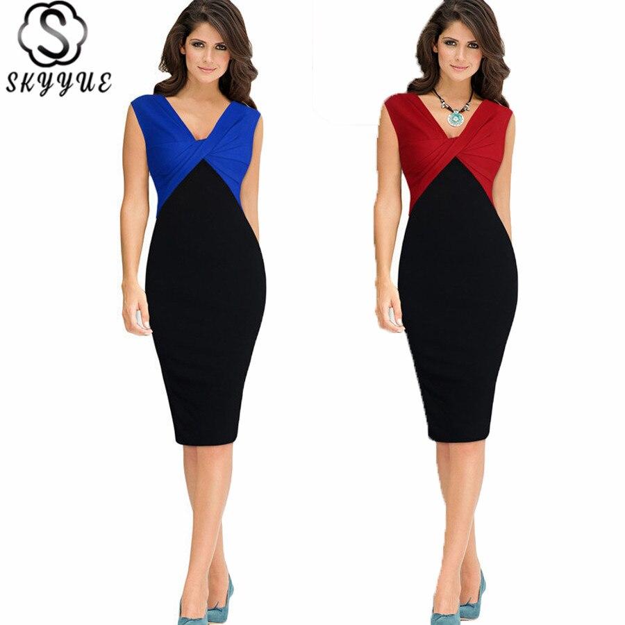 Skyyue Cocktail Dress V-Neck Sleeveless Straight Cocktail Dresses For Plus Size Women Knee-Length Pleat Tank Robe Cocktail YM036