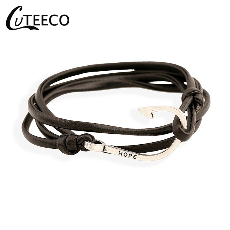 CUTEECO Endless Multilayer Rope Bracelet Pulseras Hombre Tom Hope Nautical Anchor Sailor Bracelets Men Friendship Gifts