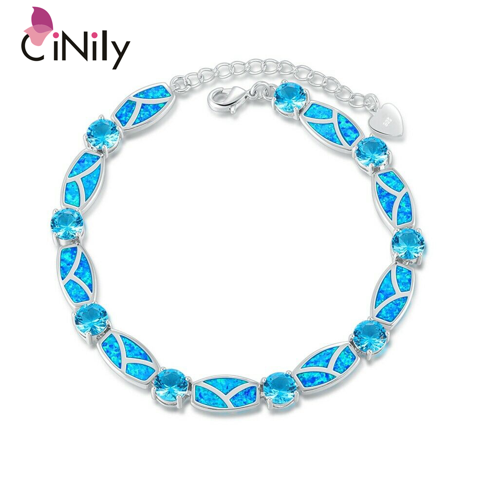 CiNily Pink Blue Fire Opal Stone Chain Link Bracelets & Bangles Rose Gold Color Silver Plated Lines Vintage Jewelry Gifts Woman