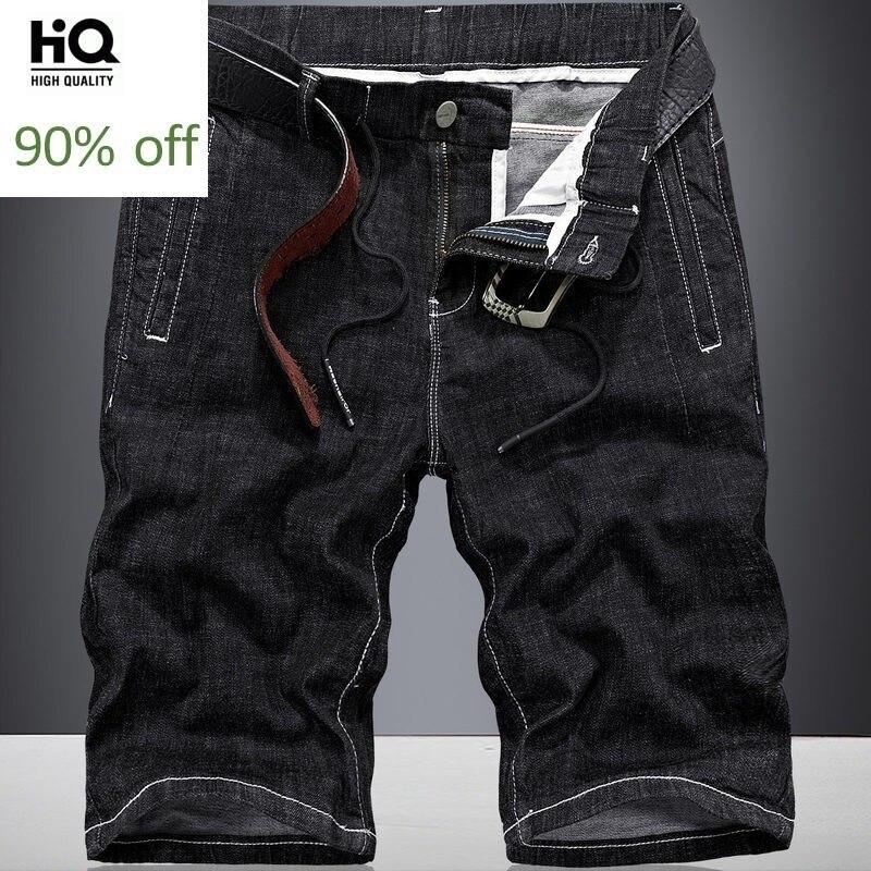 Men Jeans Shorts Teenager Korean Slim Fit Zipper Knee Length Shorts Homme 2020 Summer Black Straight Leg Hot Pants Plus Size 40