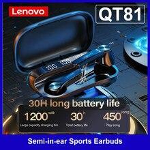 Lenovo QT81 TWS bezprzewodowe słuchawki BT pół-w-ucho sportowe słuchawki douszne wodoodporne, odporne na pot słuchawki z cyfrowym wyświetlaczem