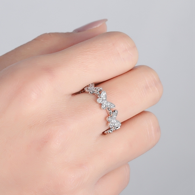 SIPENGJEL Fashion Dancing Moving Temperament Butterfly Rings Dainty Insect Open Adjustable Rings For Women Jewlery 2021 6