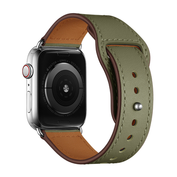 Army Green WatchBand Strap For Apple watch Band 42mm 44 mm , VIOTOO Sport Genuine Leather Wristband Watch Strap 5 4 44mm Band недорого