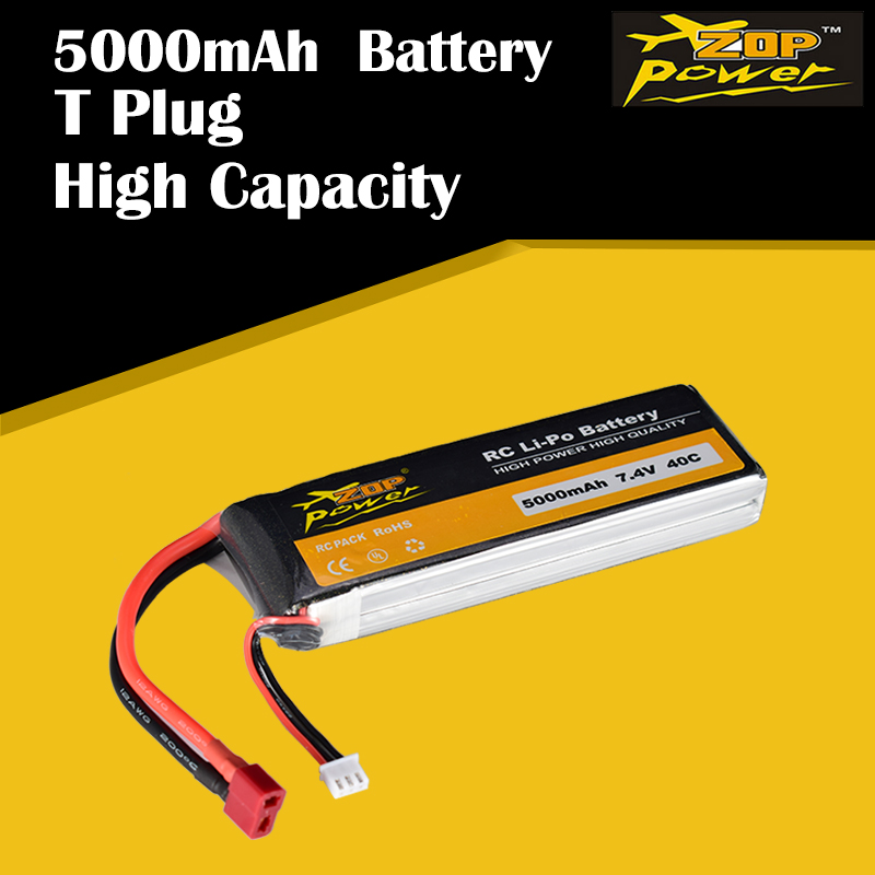 ZOP Power 7.4V <font><b>5000mAh</b></font> 40C <font><b>2S</b></font> <font><b>Lipo</b></font> Battery T Plug Rechargeable for RC Racing Drone Quadcopter Helicopter Car Boat image