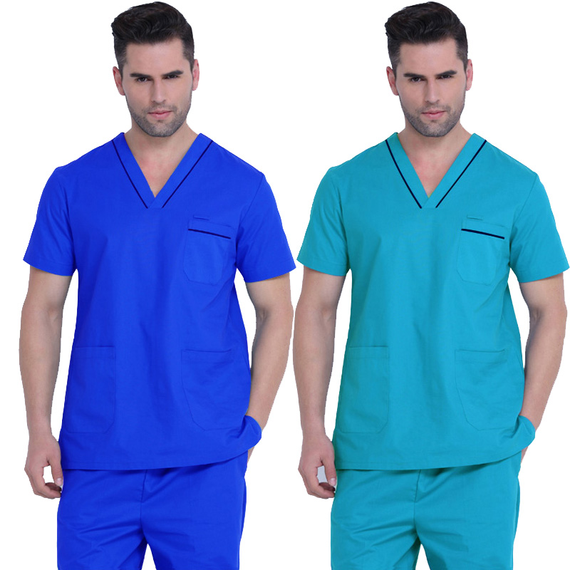 Men's Scrubs Top Medical Uniforms Pure Cotton Doctor Clothing Classic V-neck Medical Uniform Short Sleeve Shirt  ( Just A Top)