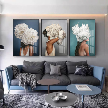 Flowers Feathers Woman Abstract Canvas Painting Wall Art Print Poster Picture Decorative Living Room Home Decoration