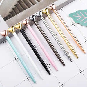 Kawaii Metal Hearts Ballpoint Pens Luxury Writing Handle Pens Gifts Signature School Office Stationery Supplies black ink 1.0mm