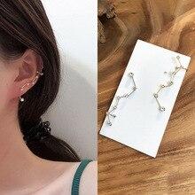 1pcs S925 Silver Plated Stud Earrings for Women Korean Seven-star Crystal Zircon Earrings Ear Bone Female Ear 2019 Jewelry