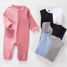 Baby cotton rompers long sleeve girl boy clothes Unisex pocket onesies pyjamas newborn baby footed overalls jumpsuit outfit