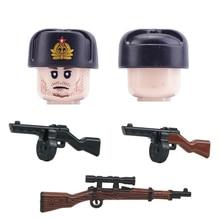 WW2 Navy Marine Corps Soldiers Figures Building Blocks Military Soviet Union Cotton Cap Gun Accessories Bricks Toy For Children