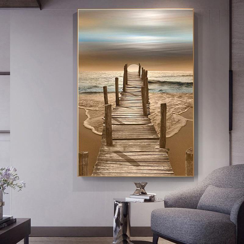 Ahşap köprü salonu kanepe yatak odası dekorasyon boyama arka plan duvar tuvali boyama bağlantı deniz