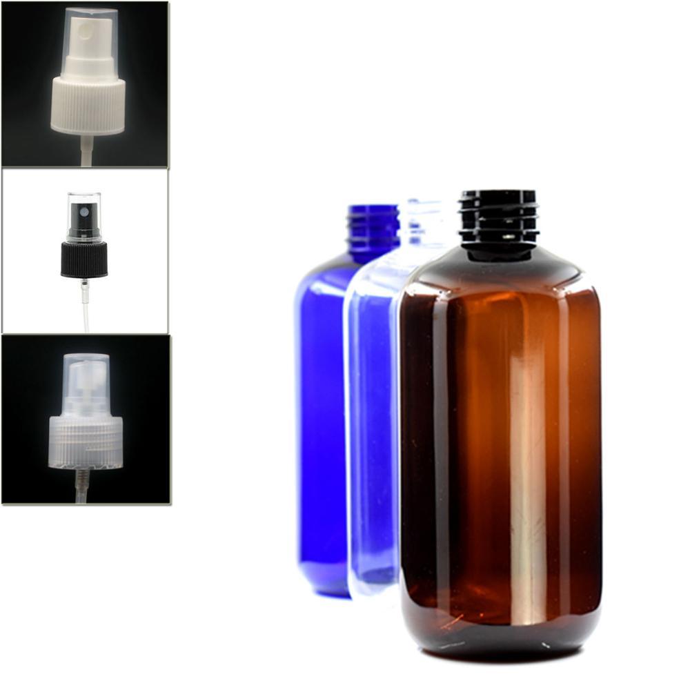 250ml Empty Boston Round Plastic Bottle , Clear Pet Bottle With Black/white/transparent Fine Mist,sprayer Bottle