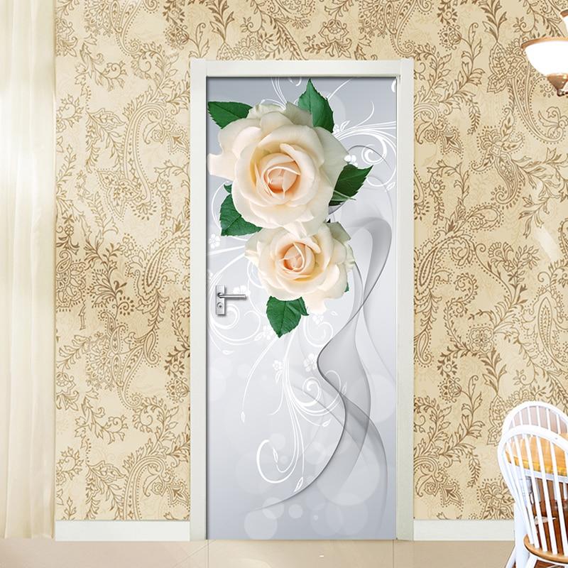 Art Door Sticker Rose Smoke Waterproof Living Room Bedroom Door Wallpaper Self Adhesive Wall Decals Imitation 3D Wall Stickers