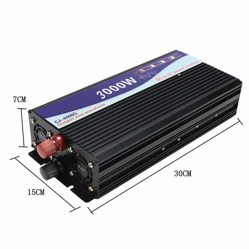 Invertör 12V 220V 3000W/4000W/5000W/6000W akıllı gerilim trafosu saf sinüs dalgası güneş güç inverteri 12V/24V için 220V