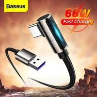 Baseus-Cable USB tipo C de 66W, cargador de carga rápida 5A para Huawei P40, P30 Pro, LED de 90 grados, USB-C, Cable de datos tipo C para Xiaomi