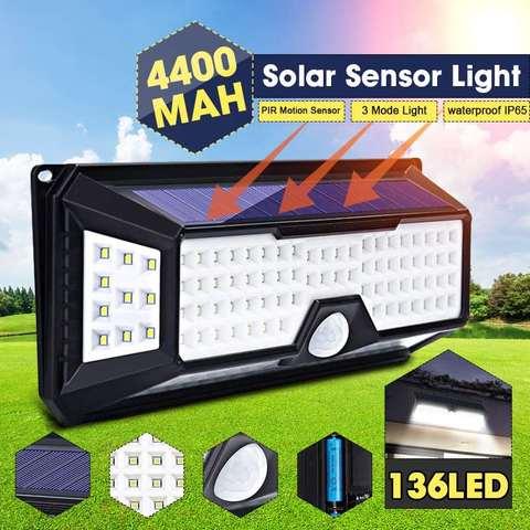 diodo emissor de luz solar 4400mah ao ar livre lampada solar sensor de movimento movido