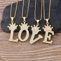 New Luxury Copper Zircon A-Z Crown Alphabet Pendant Chain Necklace Punk Hip-Hop Style Fashion Woman Man Initial Name Jewelry 4