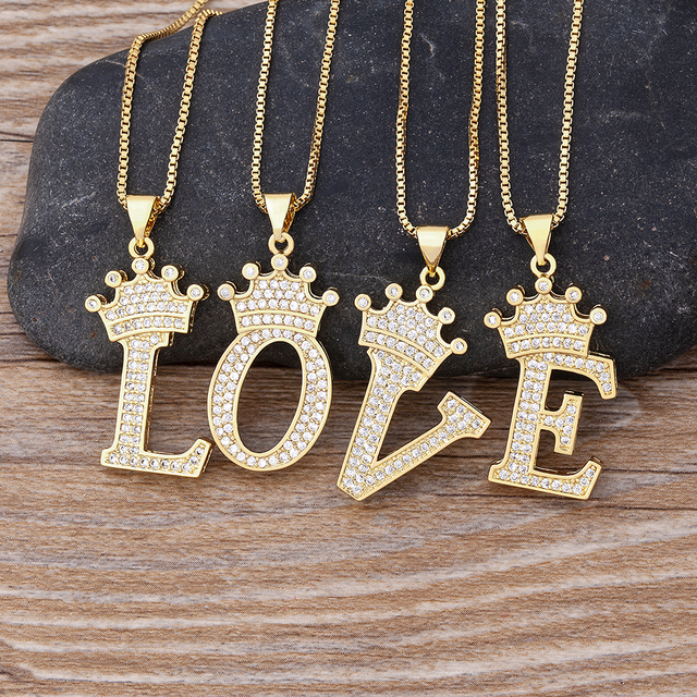 New Design 26 Letters A-Z Zircon Crown Initial Alphabet Pendant Necklace Handsome Punk Hip-Hop Style Choker Chain Jewelry Gift 3