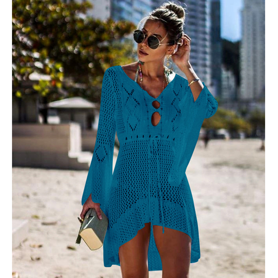 New Knitted Beach Cover Up Women Bikini Swimsuit Cover Up Hollow Out Beach Dress Tassel Tunics Bathing Suits Cover-Ups Beachwear 40