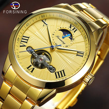 Forsining Golden Men Mechanical Wristwatch 3D Dial Automatic Tourbillon Moonphase Full Steel Big Watches Clock Relogio Masculino(China)