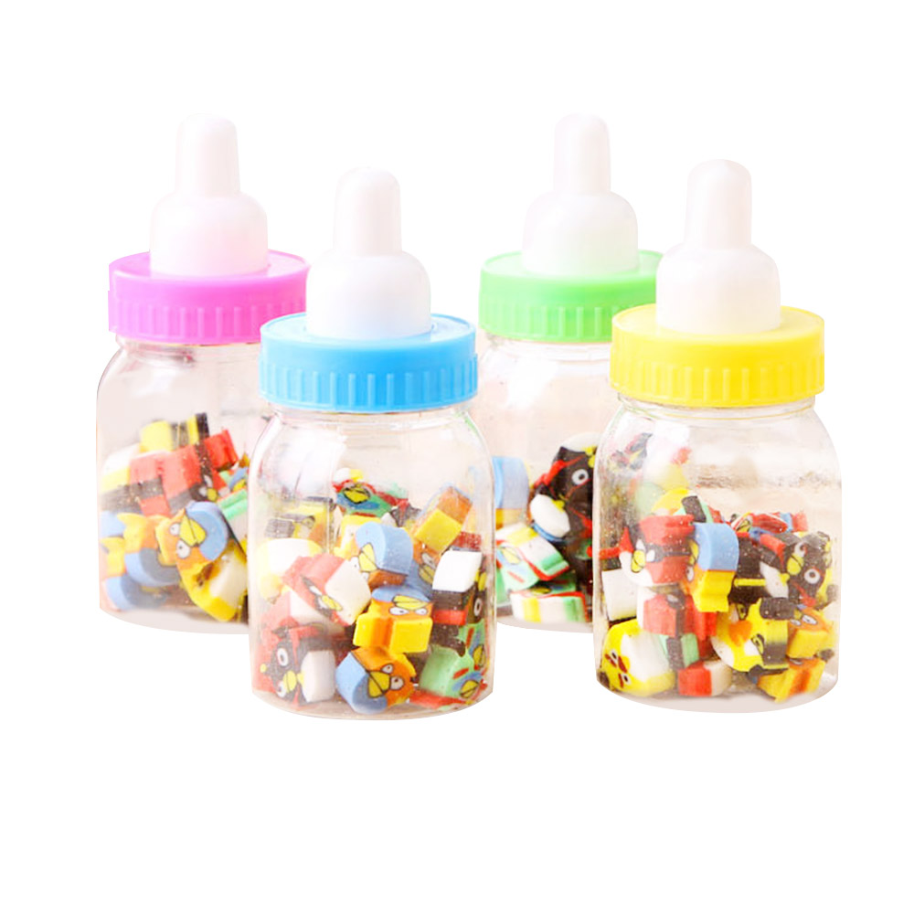 1 Bottle (20-22pc) Milk Bottle Eraser Fruit Animal Christmas Digital Rubber Bottle Children'S Students Cute Stationery Gifts