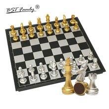 BSTFAMLY jeu d'échecs en plastique doré Chessman Compitition internationale échecs pliant damier pièces d'échecs magnétiques I39