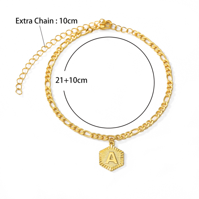 A-Z Initial Letter Anklet For Women Stainless Steel Anklets 21cm + 10cm Extender Gold Chain Alphabet Foot Accessories Jewelry 4