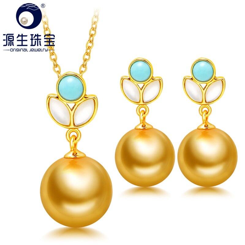 [YS] 18K or massif 9-11mm naturel mer du sud pendentif collier et boucle d'oreille ensemble de bijoux fins