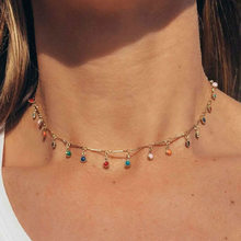 Simple colorful Bead Chain Choker Necklace Crystal Tassel Necklace For Women Fashion Sex Jewelry Prom Accessories