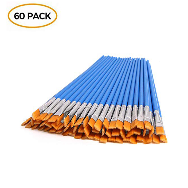 60 Pcs Flat Paint Brushes, Small Brush Bulk For Detail Painting