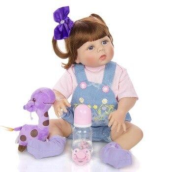 "Reborn Girl bebe toys 23"" 57cm  Bebes reborn corpo de silicone inteiro alive newborn dolls for children gift in tan skin"