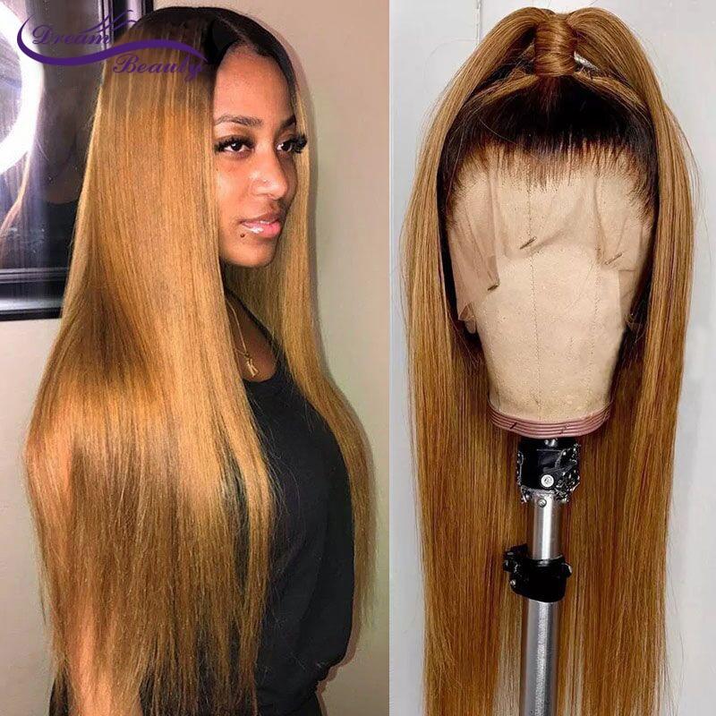 250 плотность прямые волосы 1b/27 медовый блонд, бразильские волосы Remy с детскими волосами 13x6 полный фронтальный парик человеческих волос