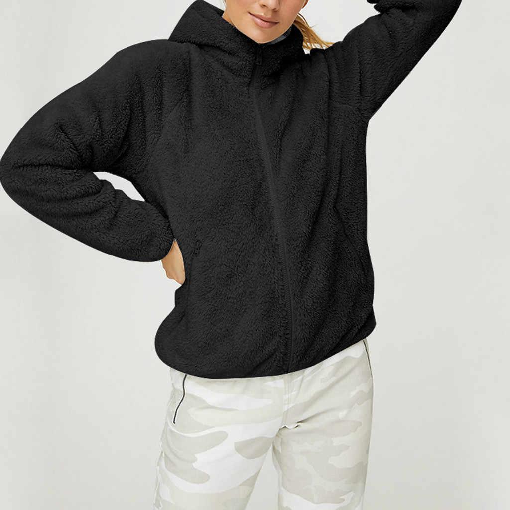 Musim Dingin Kasual Kasmir Mantel Wanita Faux Bulu Coat Solid Hoodie Zipper Tahan Dr Perempuan Hangat Kerah Jaket Casaco Feminino