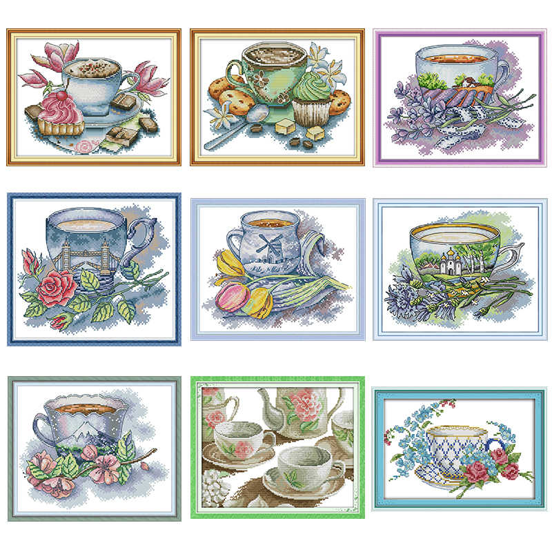 Diverse Bloemen Thee Cup Serie Count Telpatroon Dmc 14CT11CT Canvas Borduren Handwerken Kit Diy Home Decoratie Schilderen