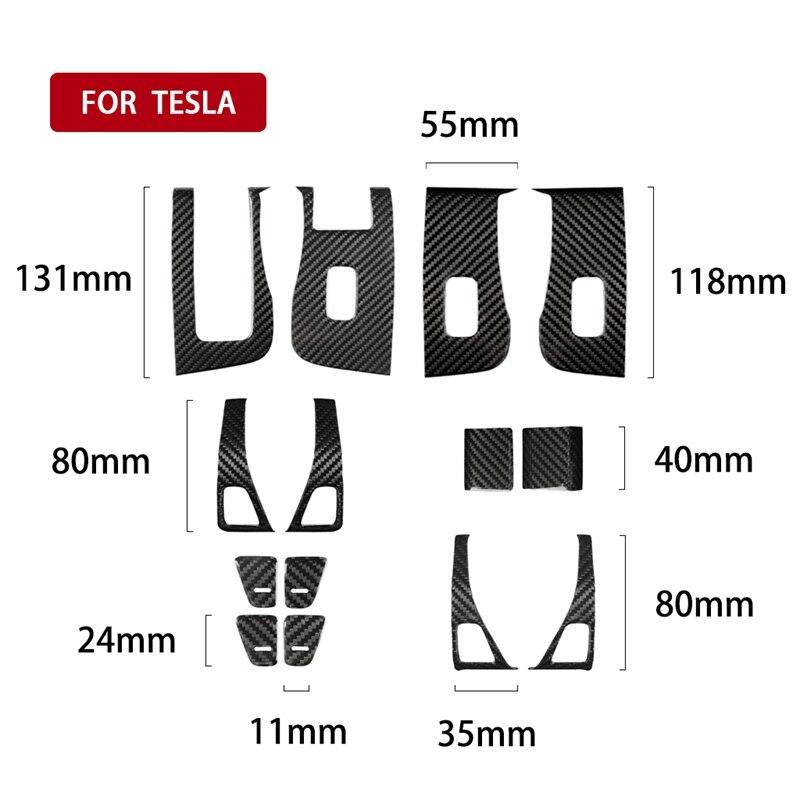 Pour Tesla modèle 3 2017 2019 fenêtre intérieure interrupteur de commande panneau couverture apporter Fiber de carbone couverture garniture panneau porte décalcomanie bouton ouvert H - 2