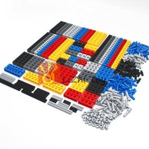 Image 2 - Технические строительные блоки, детали оптом MOC, толстые блоки, аксессуары для комбинации, шипованные длинные лучи, робот, детские игрушки