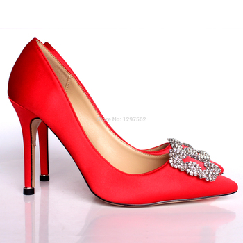 2020 New Rhinestone High Heels Silk Upper 6cm or 8cm or 10cm Stiletto Heels Shoes Women Wedding Party Shoes