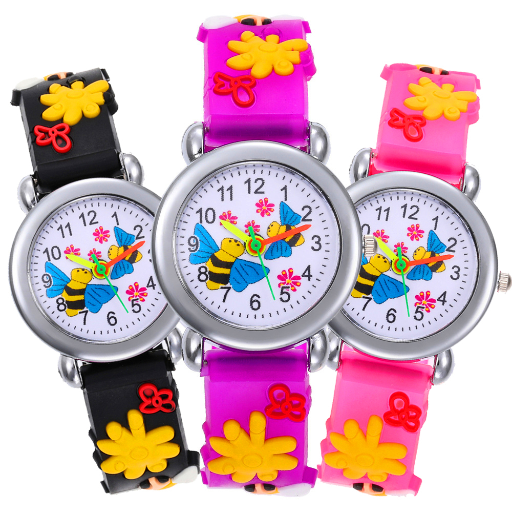 2020 New Baby Toys Gift Cartoon Bee Watch Children Gift Kids Watches For Girls Boys Clock Fashion Child Wristwatch Clock Relogio