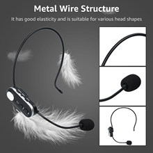 Micrófono inalámbrico UHF de alta sensibilidad, dispositivo montado en la cabeza para exteriores, reducción de ruido con adaptador de Audio de 6,5mm para guías de recorrido educativo