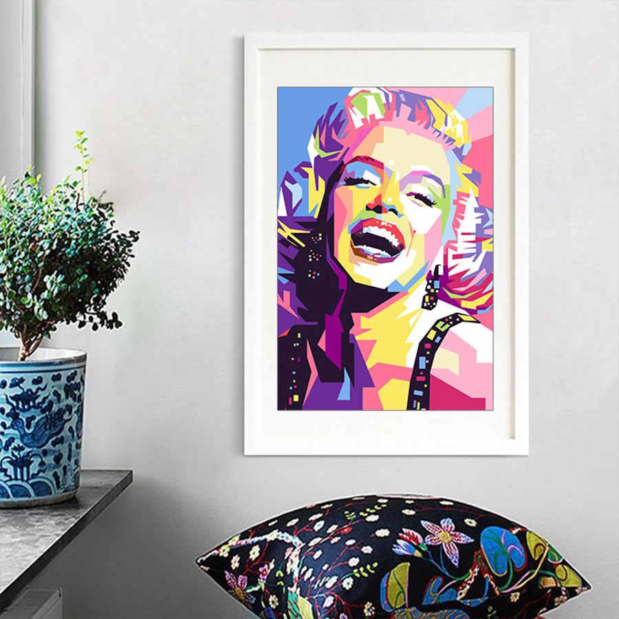 الملونة مارلين مونرو قماش اللوحة صورة مجردة الملصقات و يطبع قماش صور فنية للجدران لغرفة المعيشة ديكور المنزل